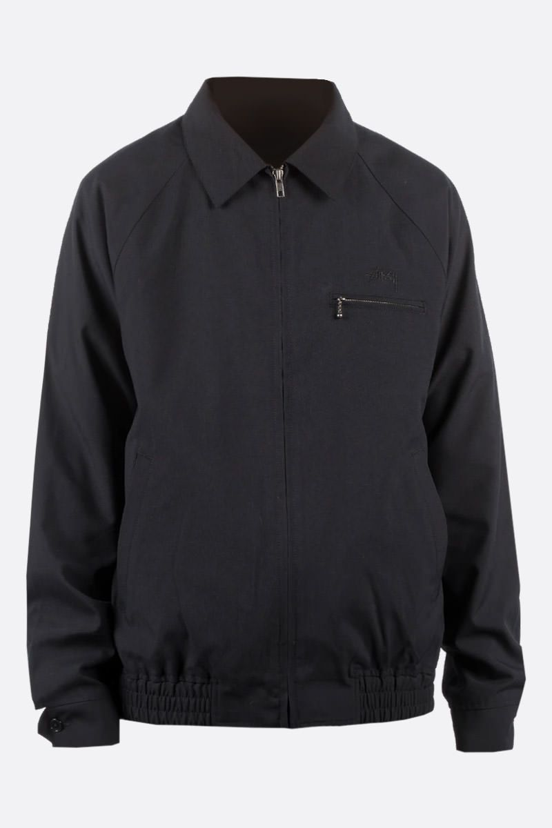 STUSSY: Bryan technical fabric full-zip jacket Color Black_1