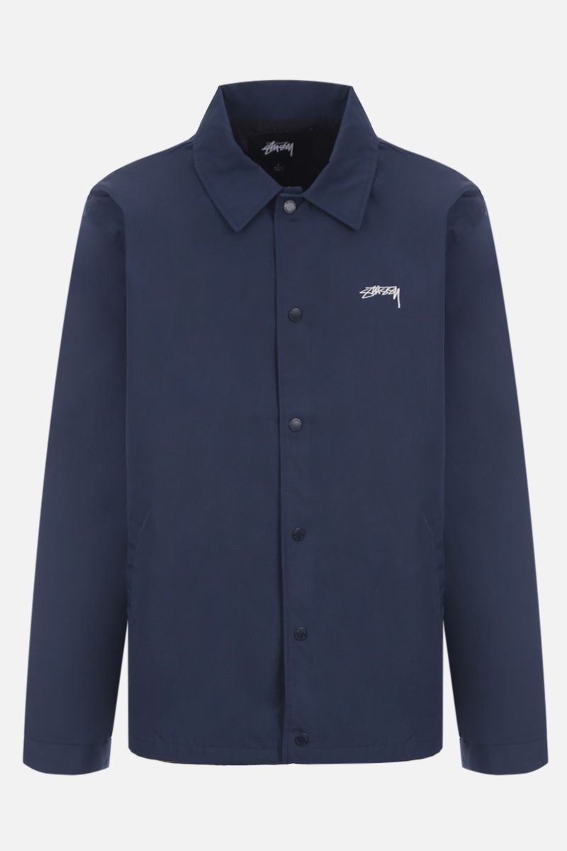 STUSSY: logo embroidered technical cotton jacket Color Blue_1