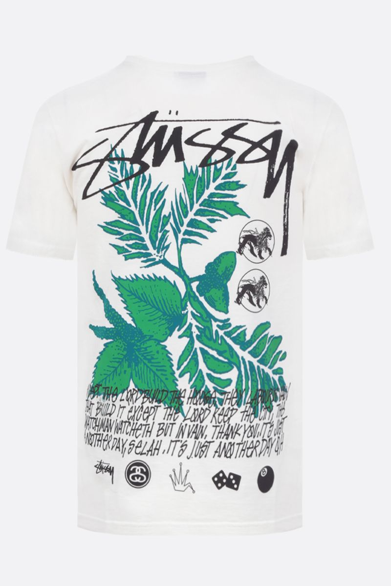 STUSSY: Bloom cotton t-shirt Color Neutral_2