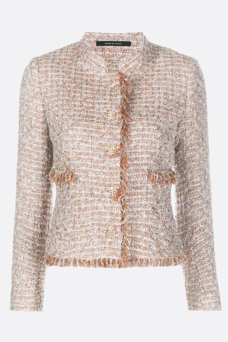 TAGLIATORE: Nikole tweed single-breasted jacket Color White_1