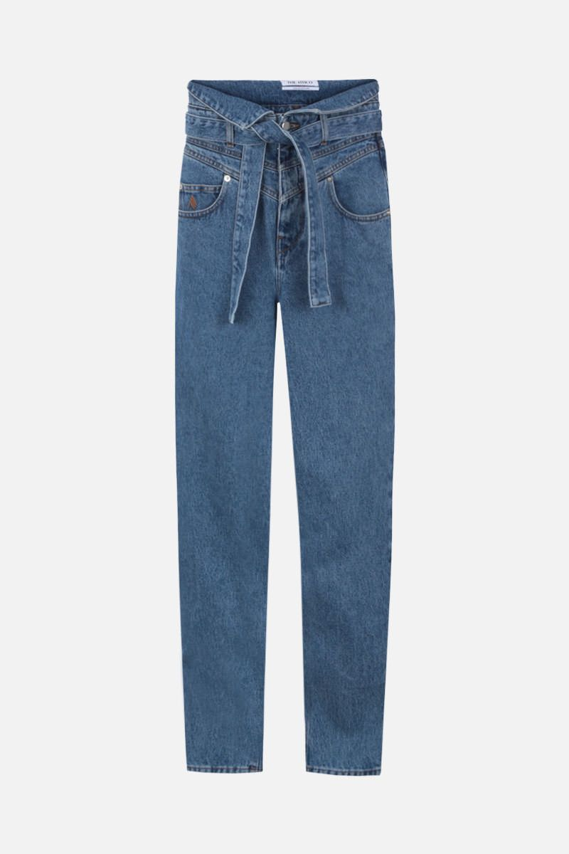 THE ATTICO: belted high-waist jeans Color Blue_1