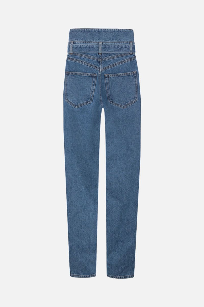 THE ATTICO: belted high-waist jeans Color Blue_3