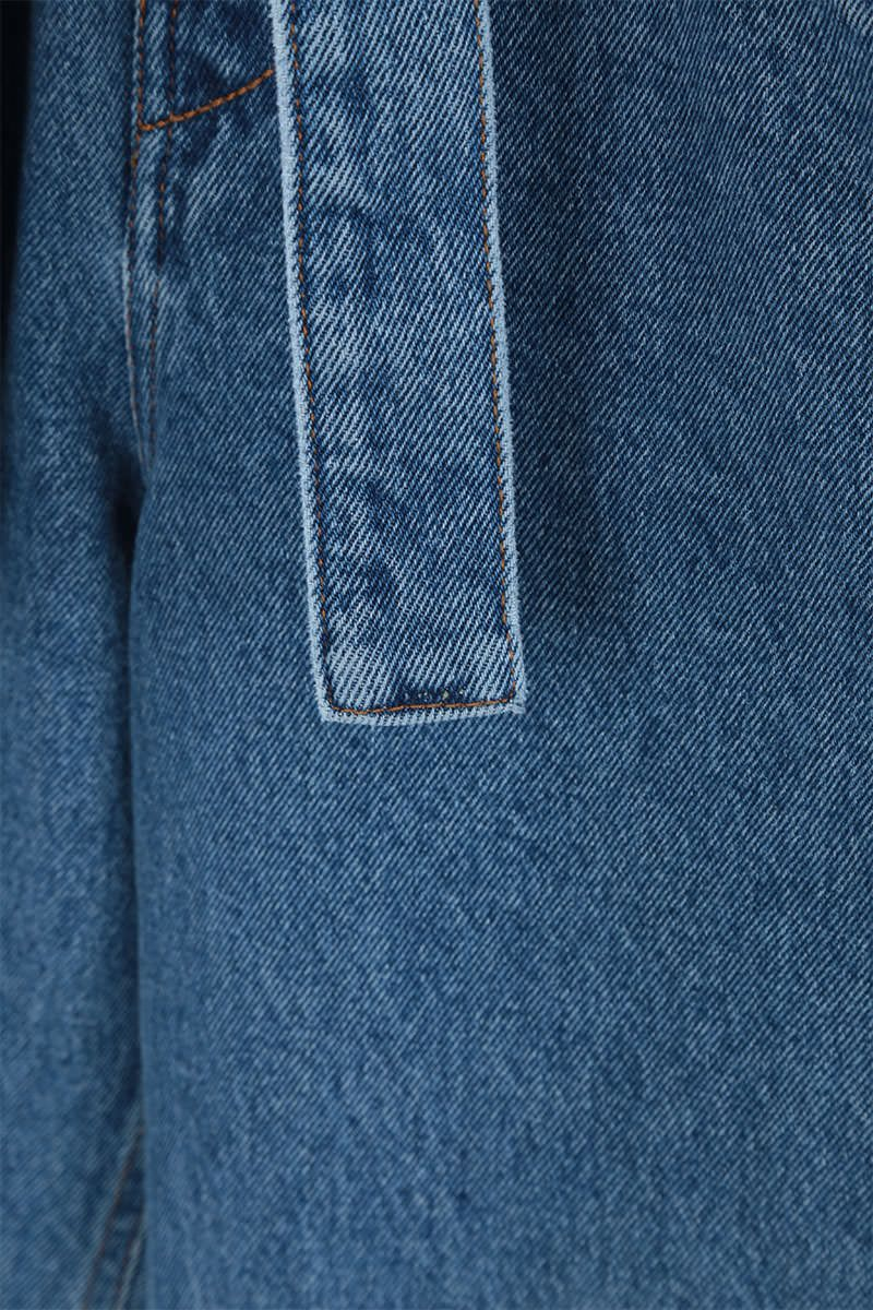 THE ATTICO: belted high-waist jeans Color Blue_4