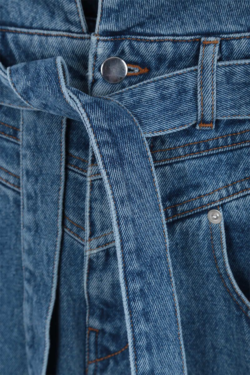 THE ATTICO: belted high-waist jeans Color Blue_5