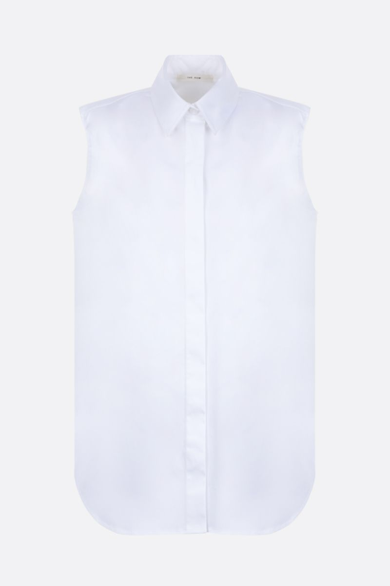 THE ROW: Fania sleeveless shirt in poplin Color White_1