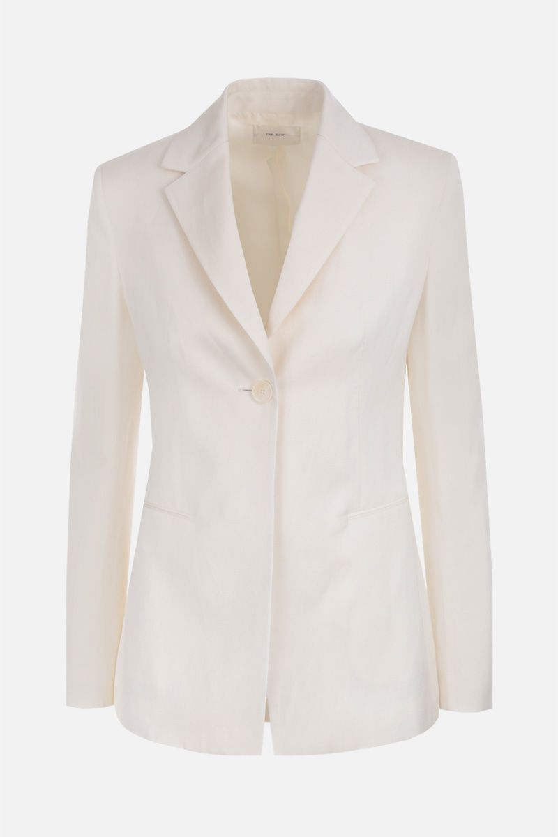 THE ROW: Kiro single-breasted jacket in silk linen blend Color White_1