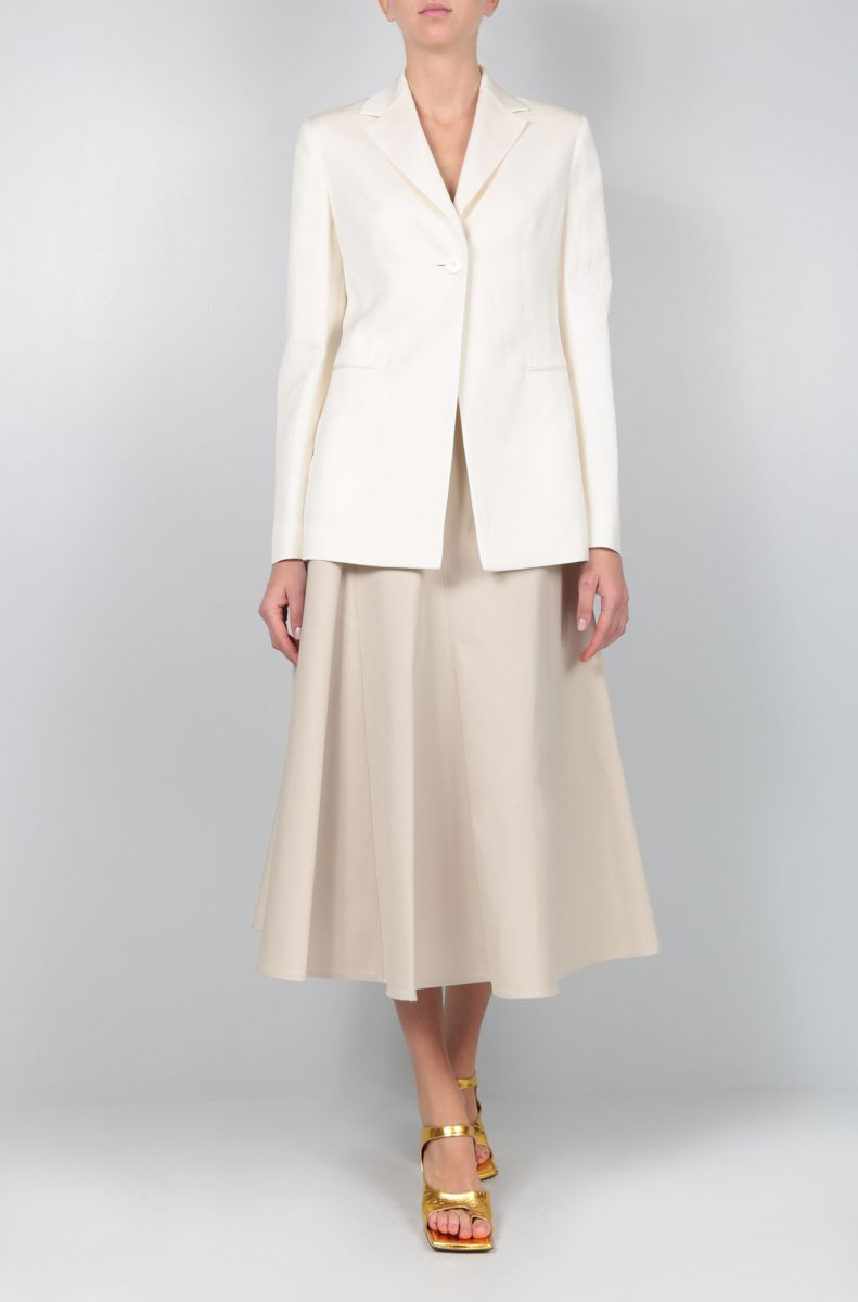 THE ROW: Kiro single-breasted jacket in silk linen blend Color White_2