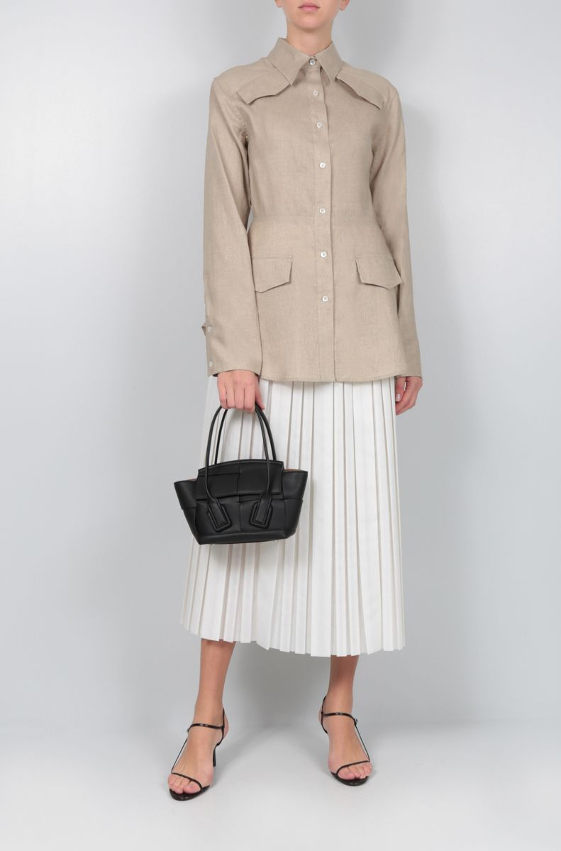 THE ROW: Magdita pleated skirt in cotton blend Color White_2