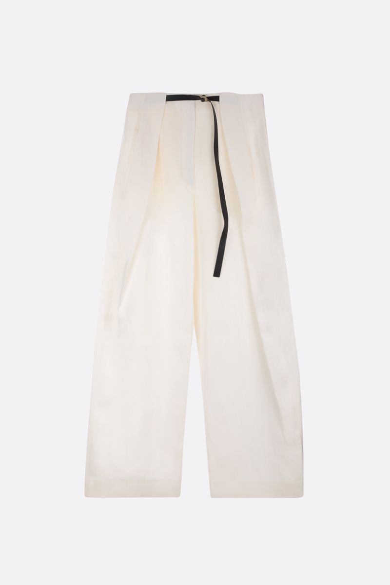 THE ROW: Brona wide-leg pants in silk linen blend Color White