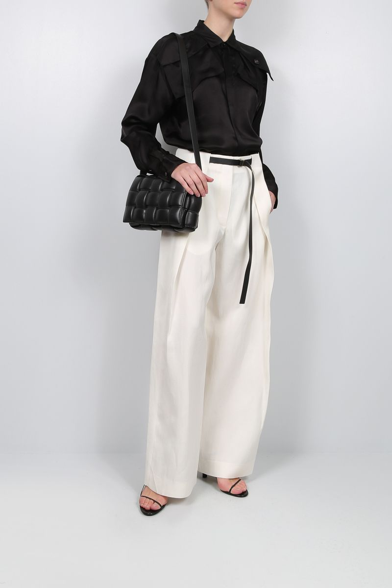 THE ROW: Brona wide-leg pants in silk linen blend Color White_2