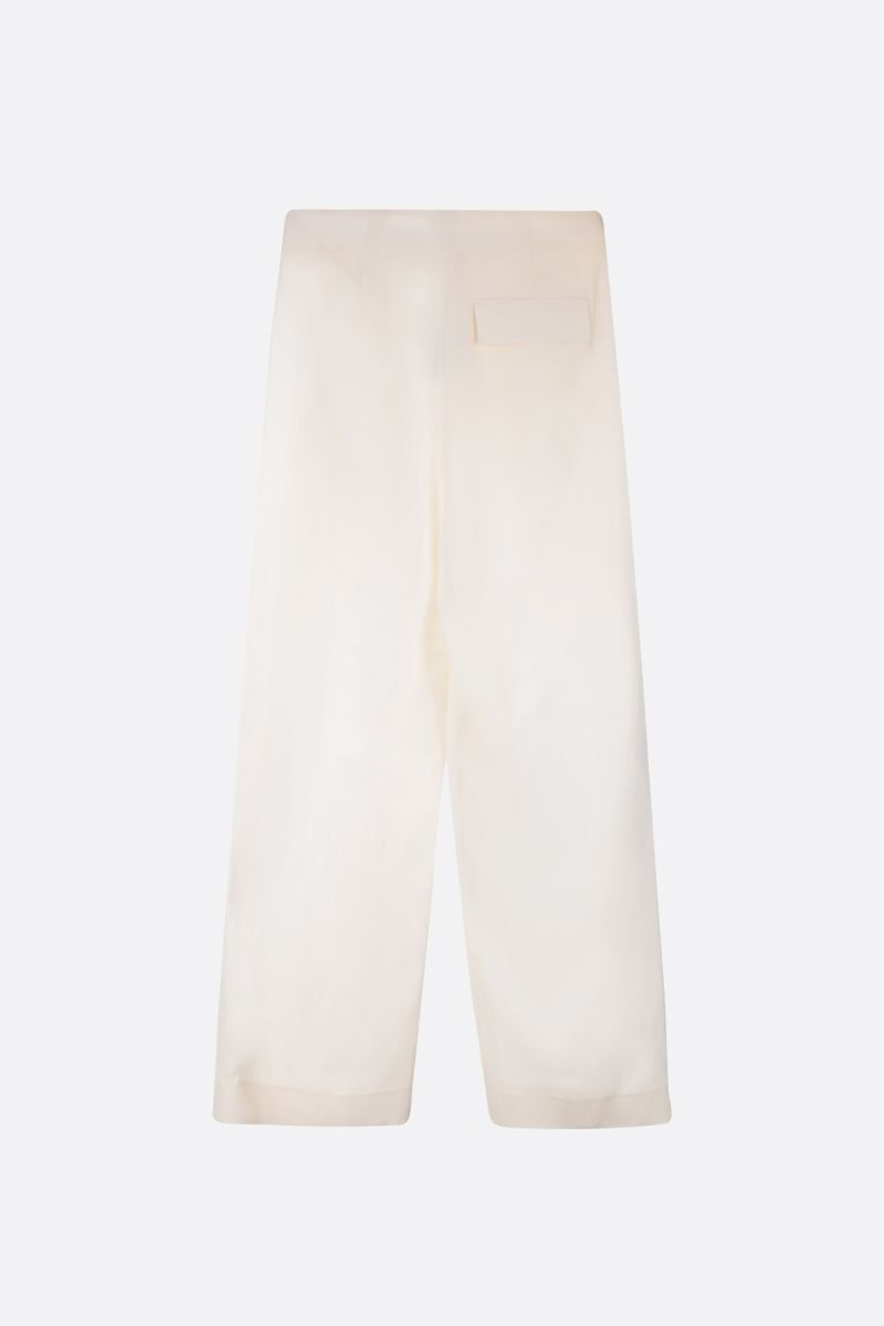 THE ROW: Brona wide-leg pants in silk linen blend Color White_3