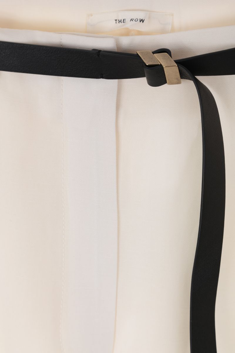 THE ROW: Brona wide-leg pants in silk linen blend Color White_4