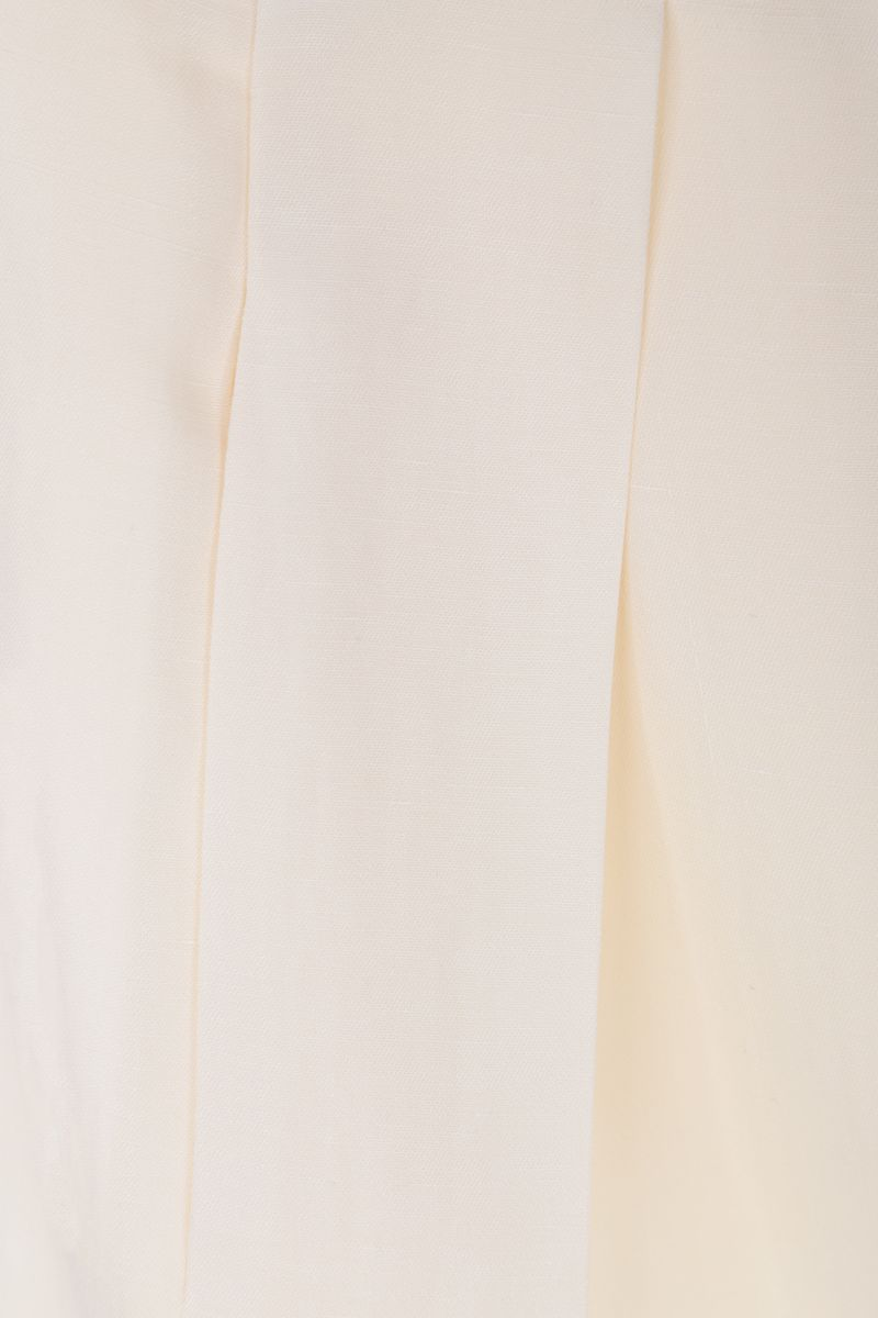 THE ROW: Brona wide-leg pants in silk linen blend Color White_5
