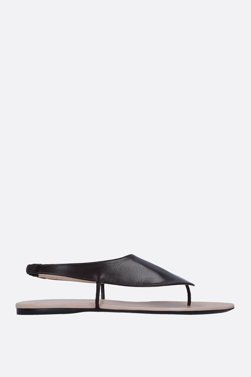 THE ROW: Ravello thong sandals in smooth leather Color Brown_1
