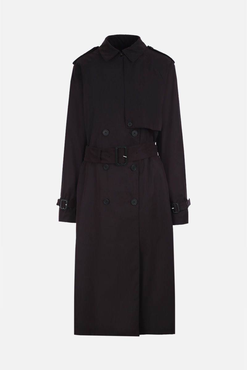 THE ROW: Triana double-breasted trench coat in fluid nylon Color Brown_1