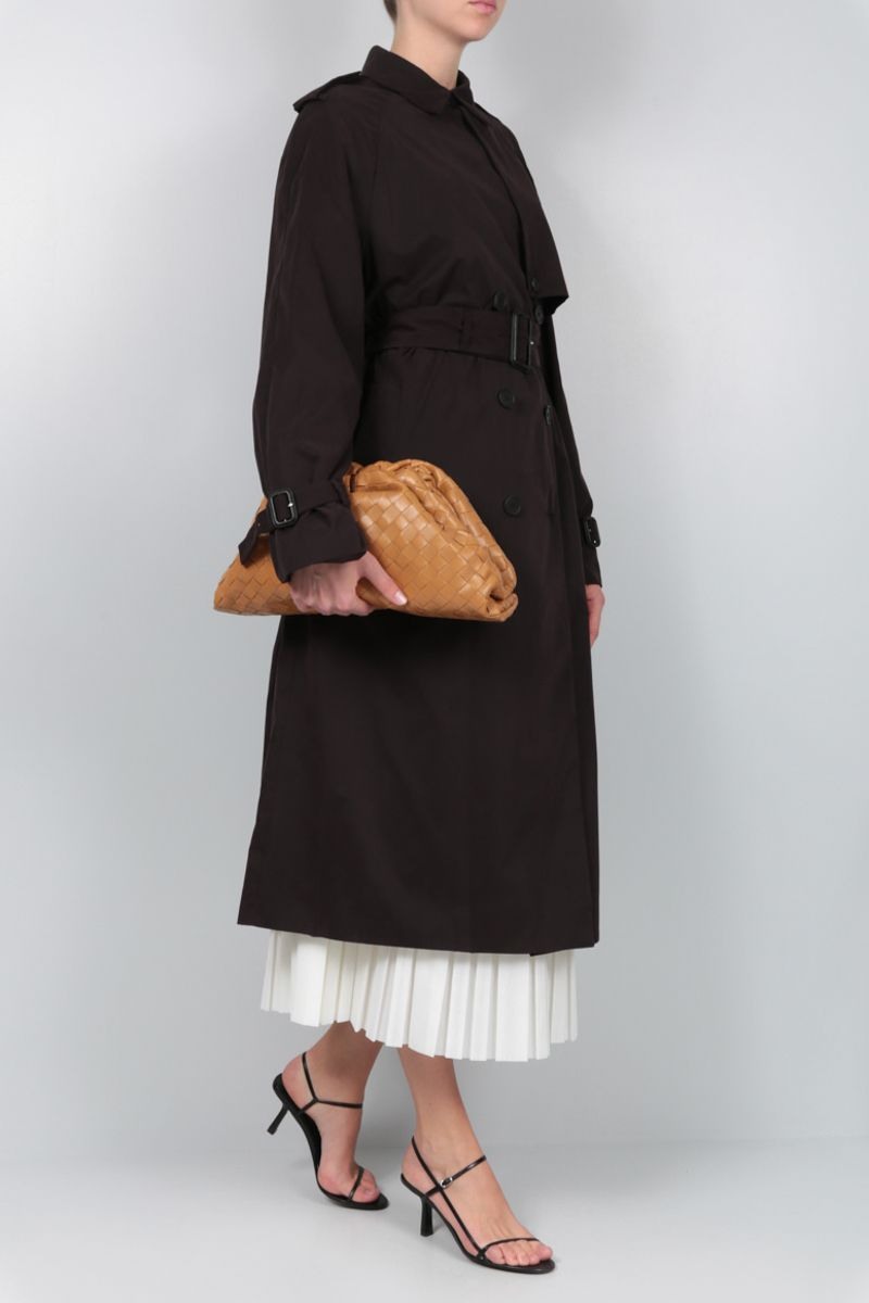 THE ROW: Triana double-breasted trench coat in fluid nylon Color Brown_2