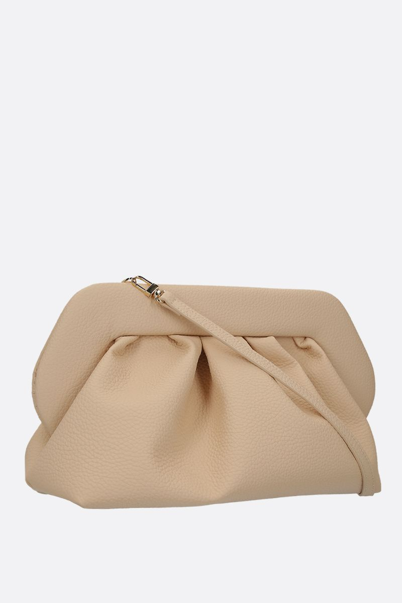 THE MOIRE': grainy faux leather clutch Color Neutral_2