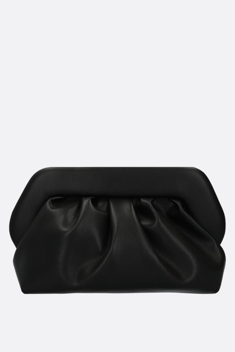 THE MOIRE': smooth faux leather clutch Color Black_1