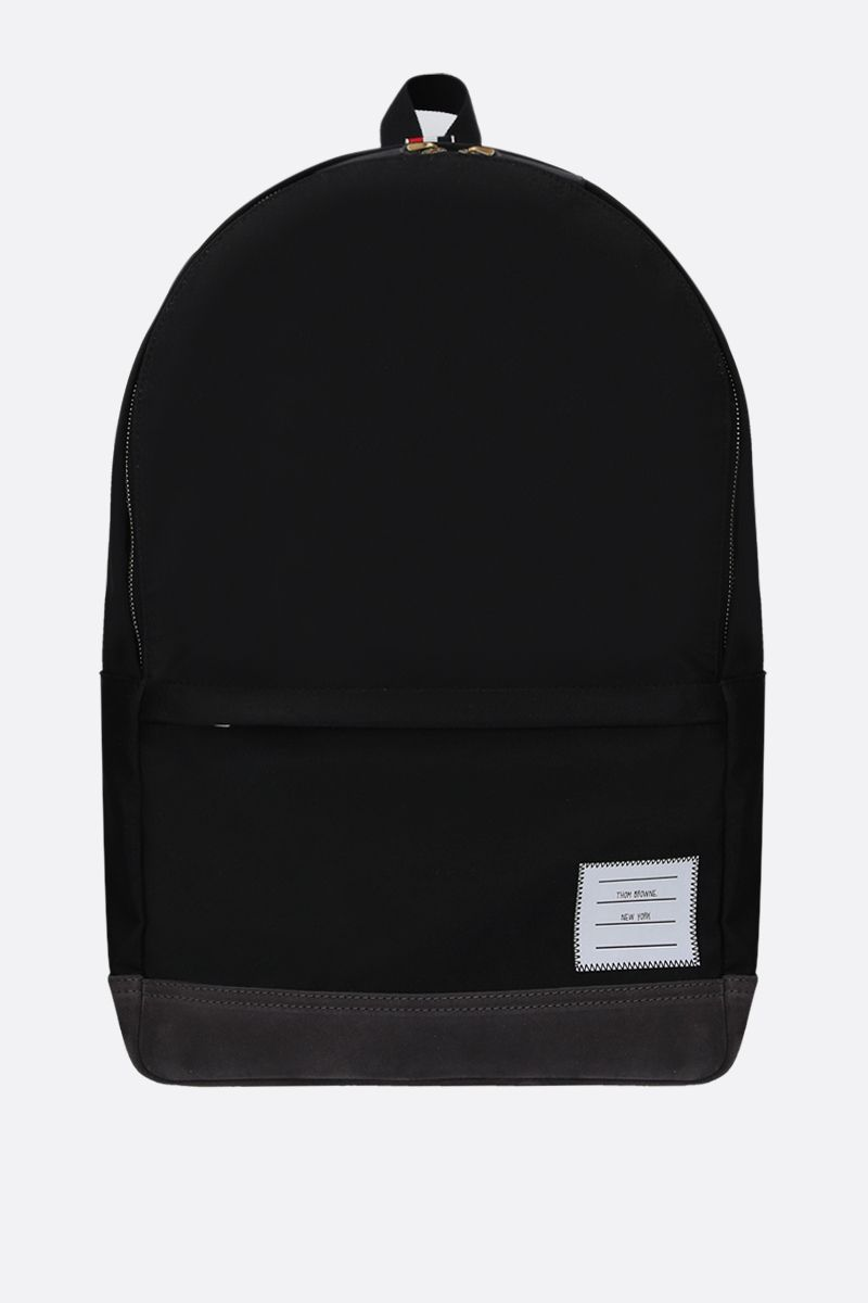 THOM BROWNE: unstructured backpack in nylon and suede Color Black_1
