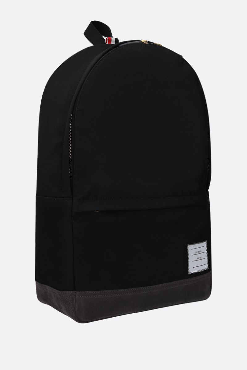 THOM BROWNE: unstructured backpack in nylon and suede Color Black_2