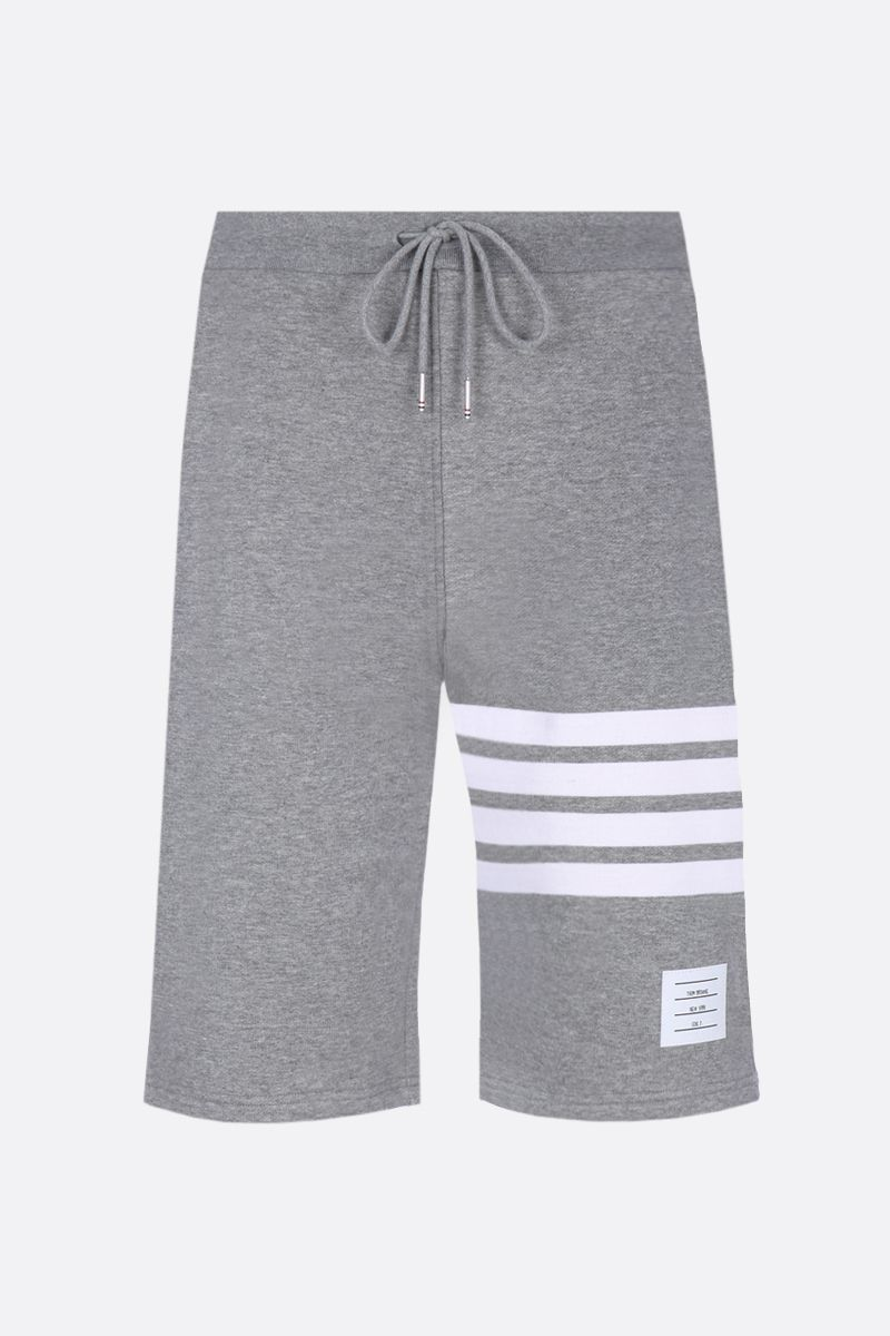 THOM BROWNE: cotton shorts with 4-Bar detail Color Grey_1