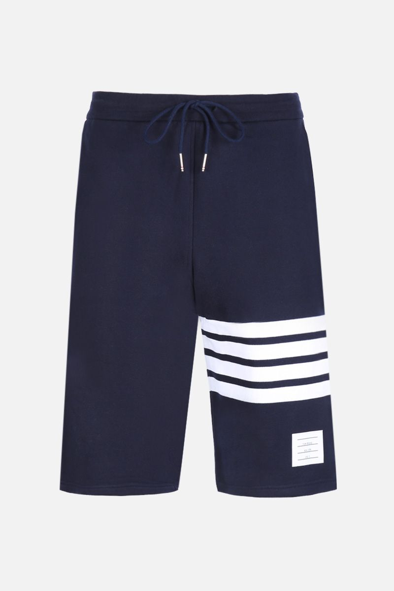 THOM BROWNE: cotton shorts with 4-Bar detail Color Blue_1