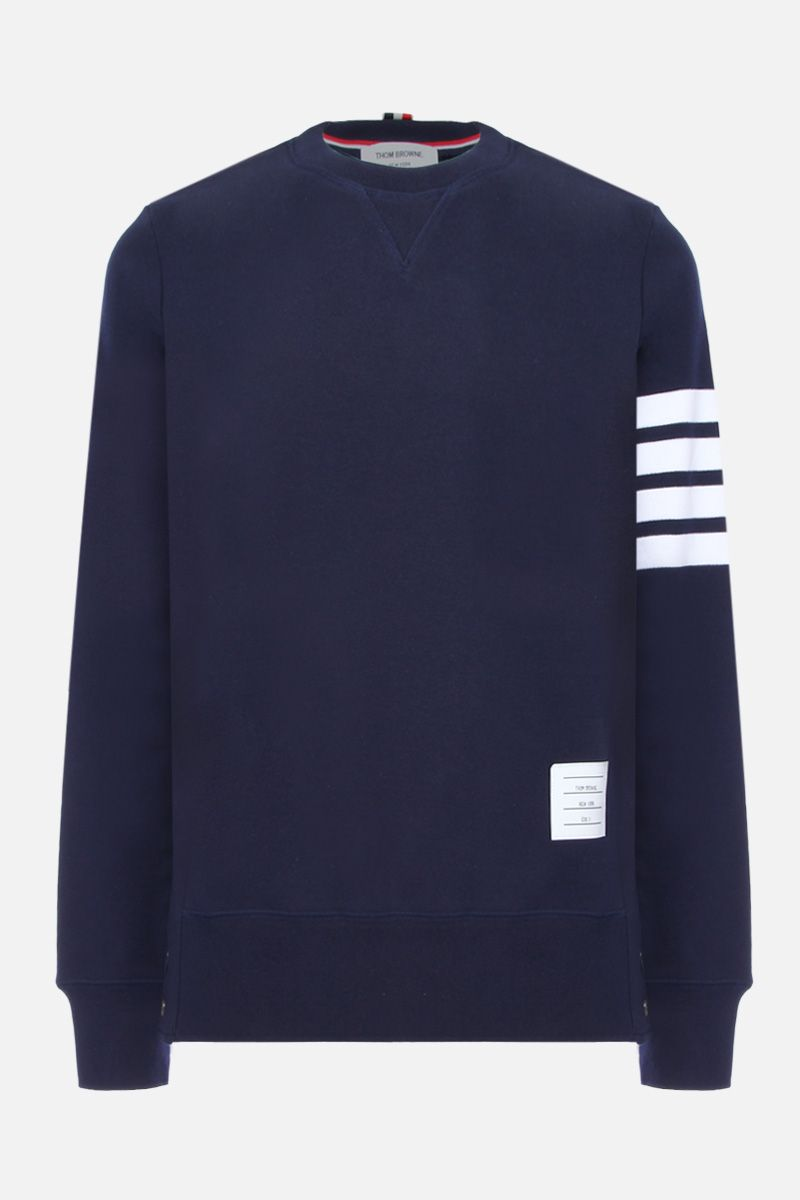 THOM BROWNE: cotton sweatshirt with 4-Bar detail Color Blue_1