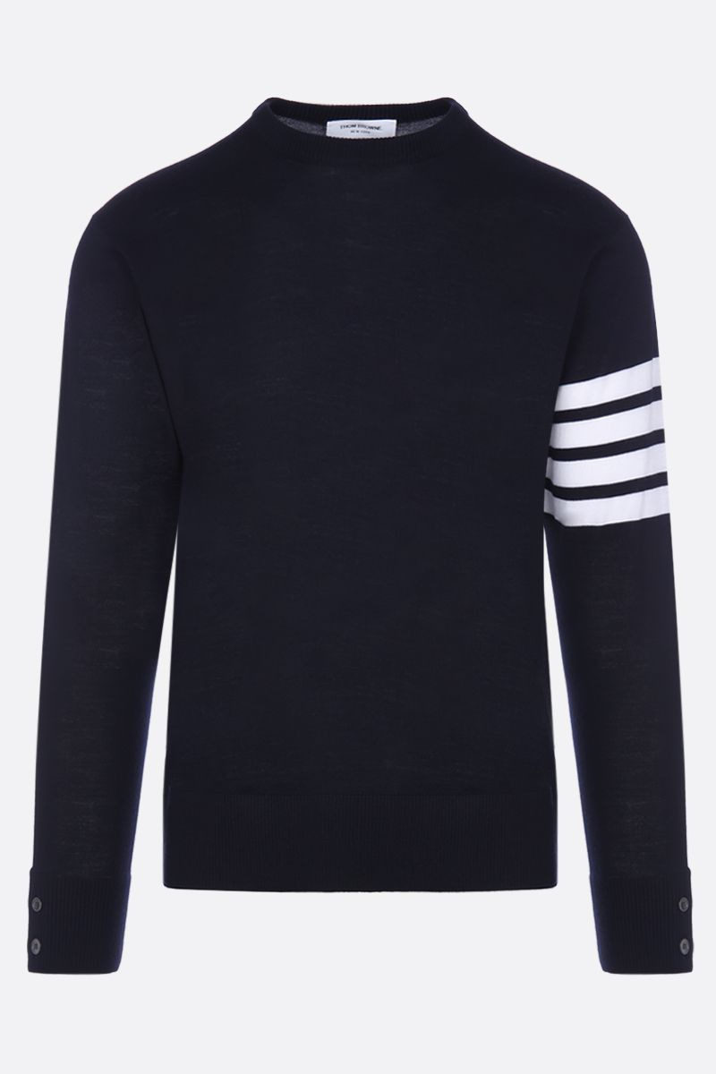 THOM BROWNE: wool pullover with 4-bar detail Color Blue_1