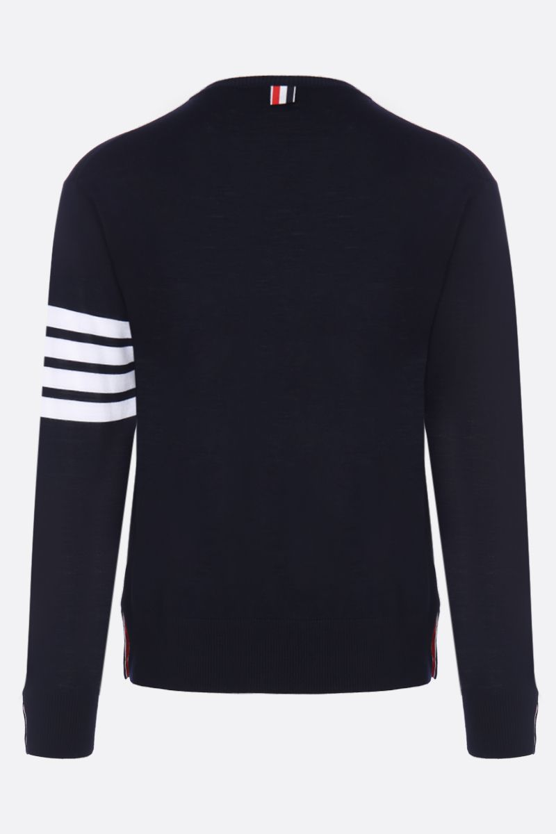 THOM BROWNE: wool pullover with 4-bar detail Color Blue_2