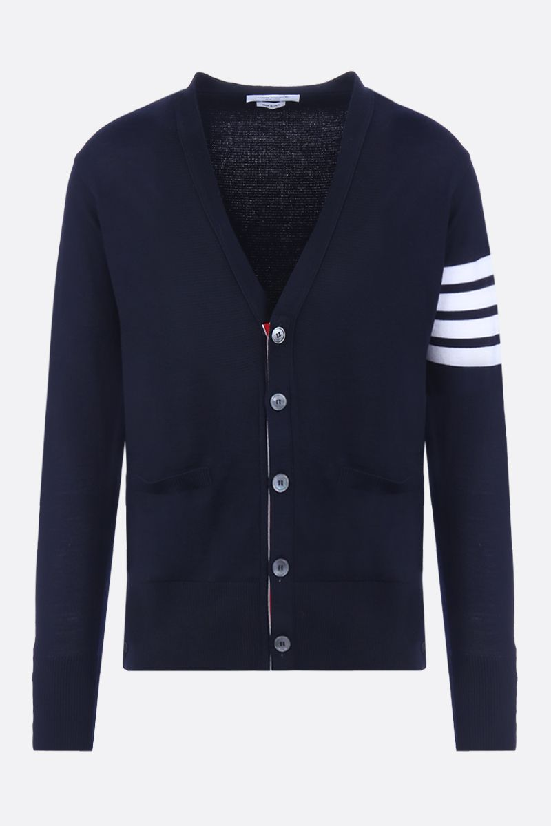 THOM BROWNE: wool cardigan with 4-bar detail Color Blue_1