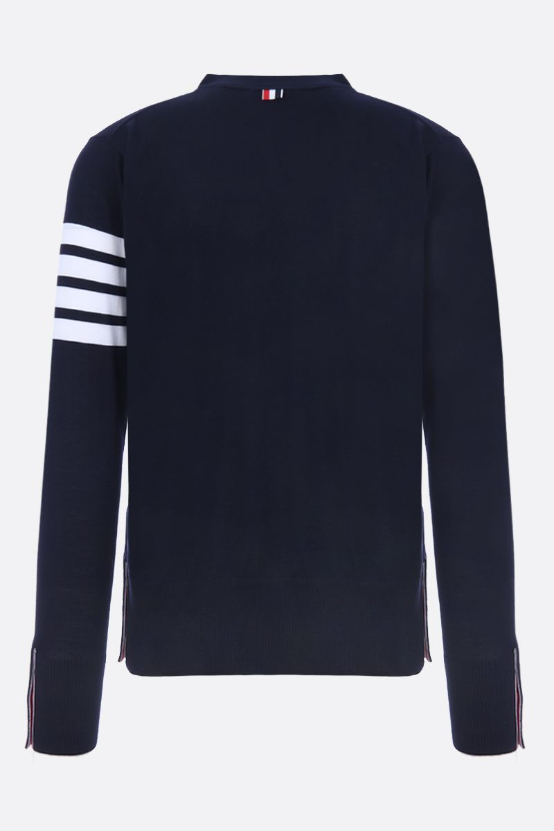 THOM BROWNE: wool cardigan with 4-bar detail Color Blue_2