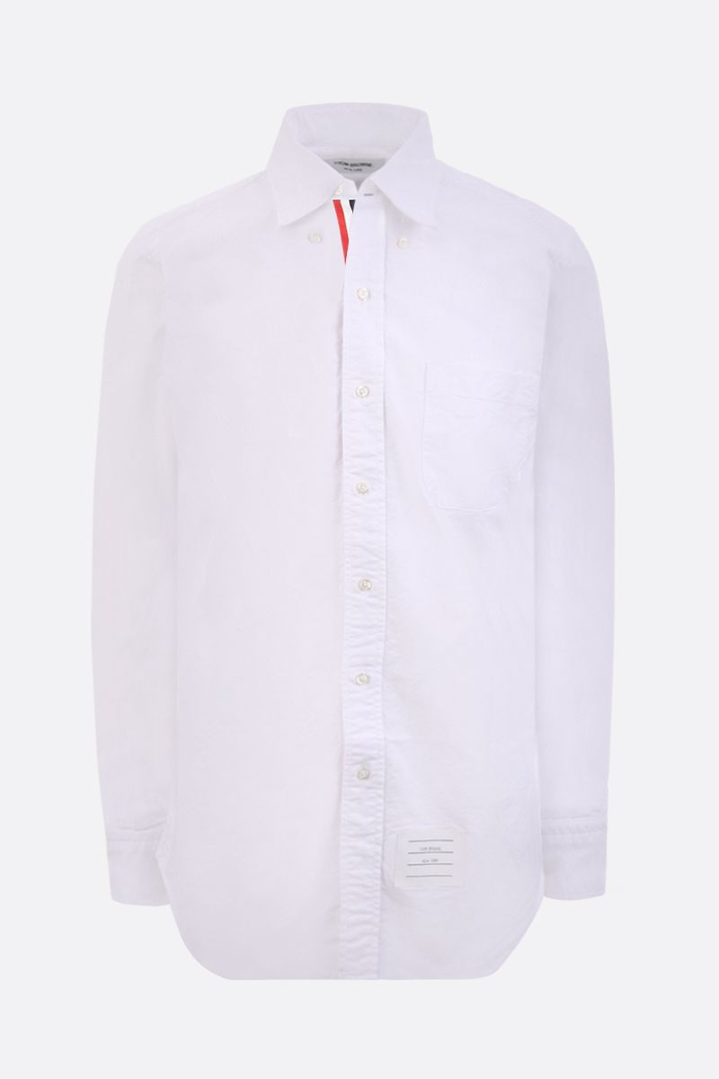 THOM BROWNE: grosgrain placket poplin shirt Color White_1