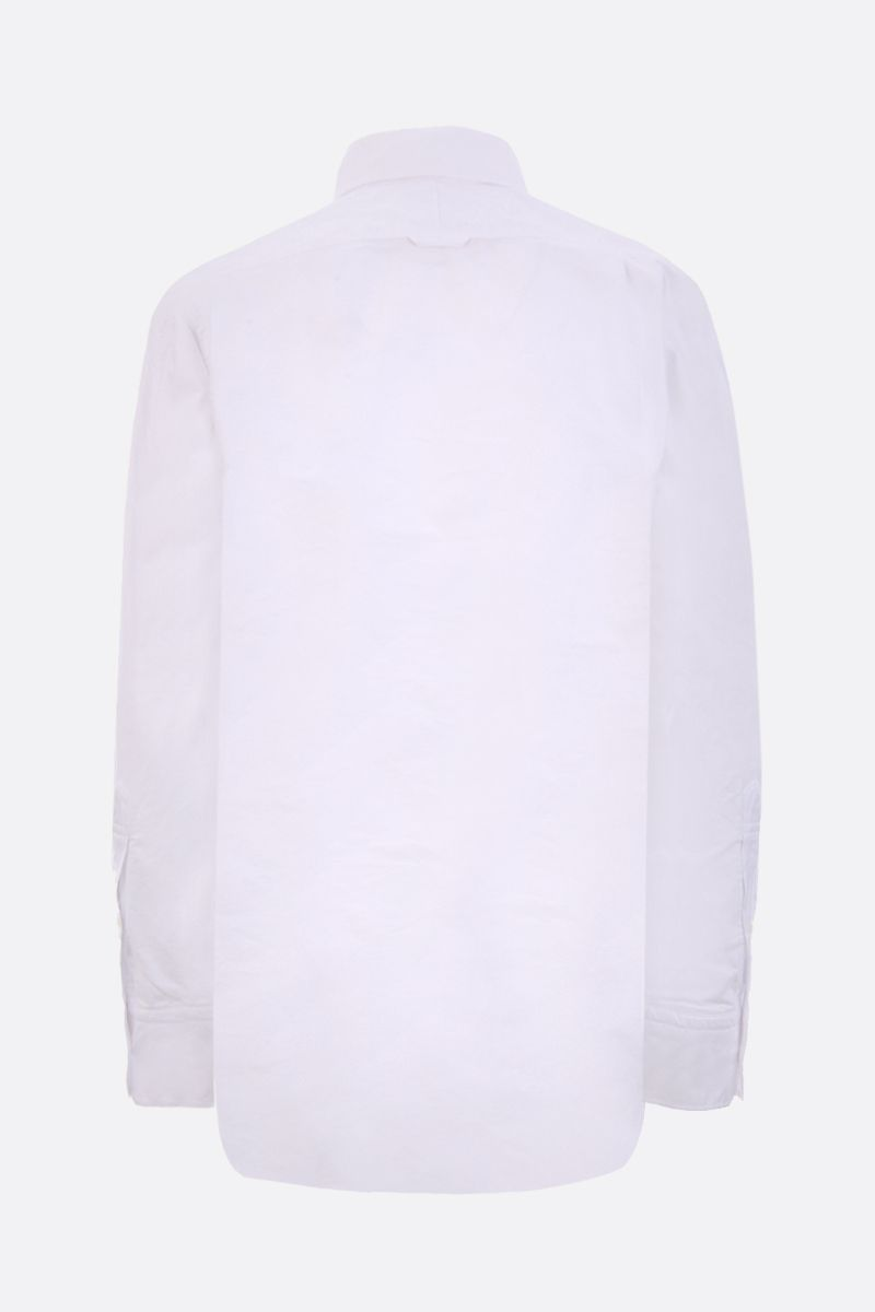 THOM BROWNE: grosgrain placket poplin shirt Color White_2