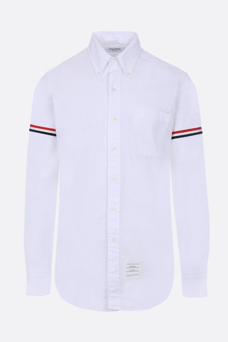 THOM BROWNE: grosgrain armbands oxford shirt Color White_1