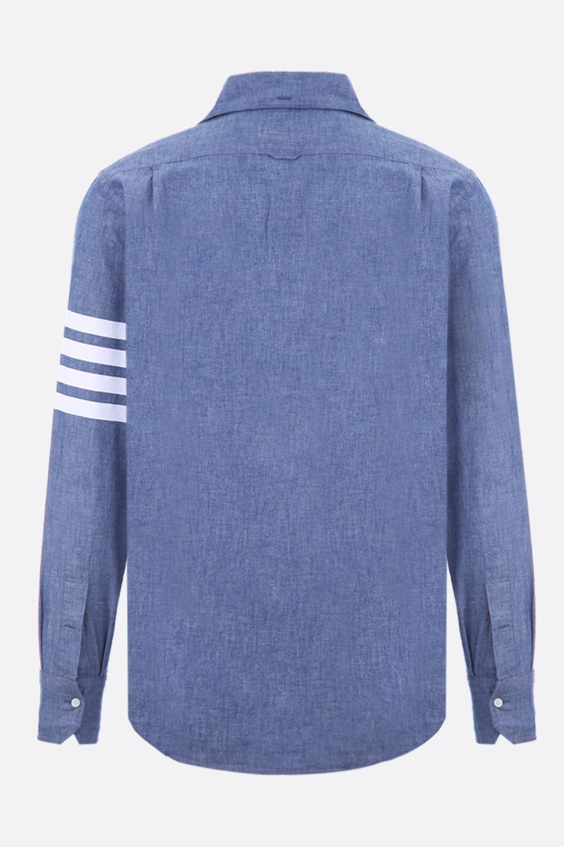 THOM BROWNE: cotton chambray shirt with 4-bar detail Color Blue_2