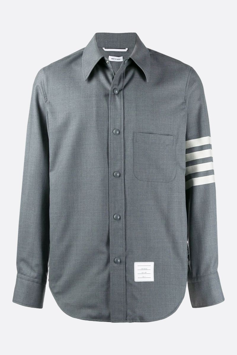 THOM BROWNE: 4-bar detailed wool overshirt Color Grey_1