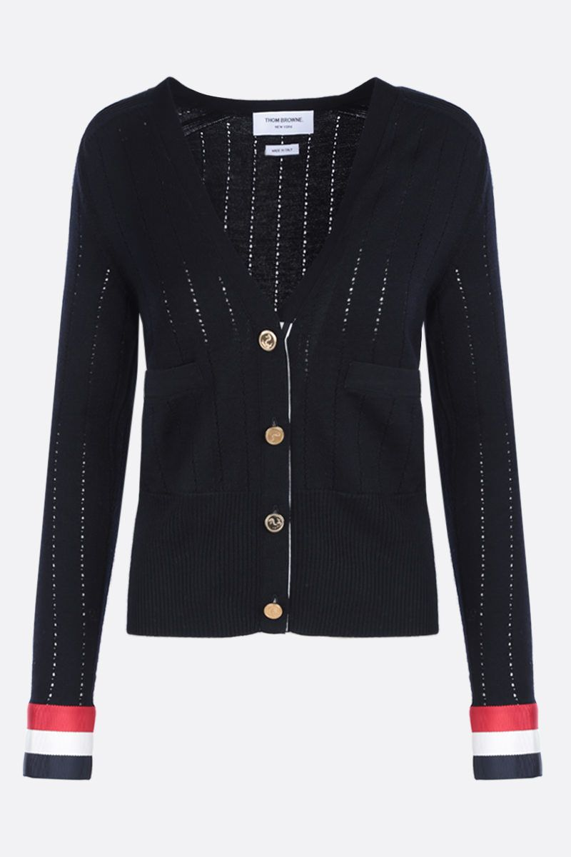 THOM BROWNE: pointelle-stitch wool cardigan with tricolor details Color Blue_1