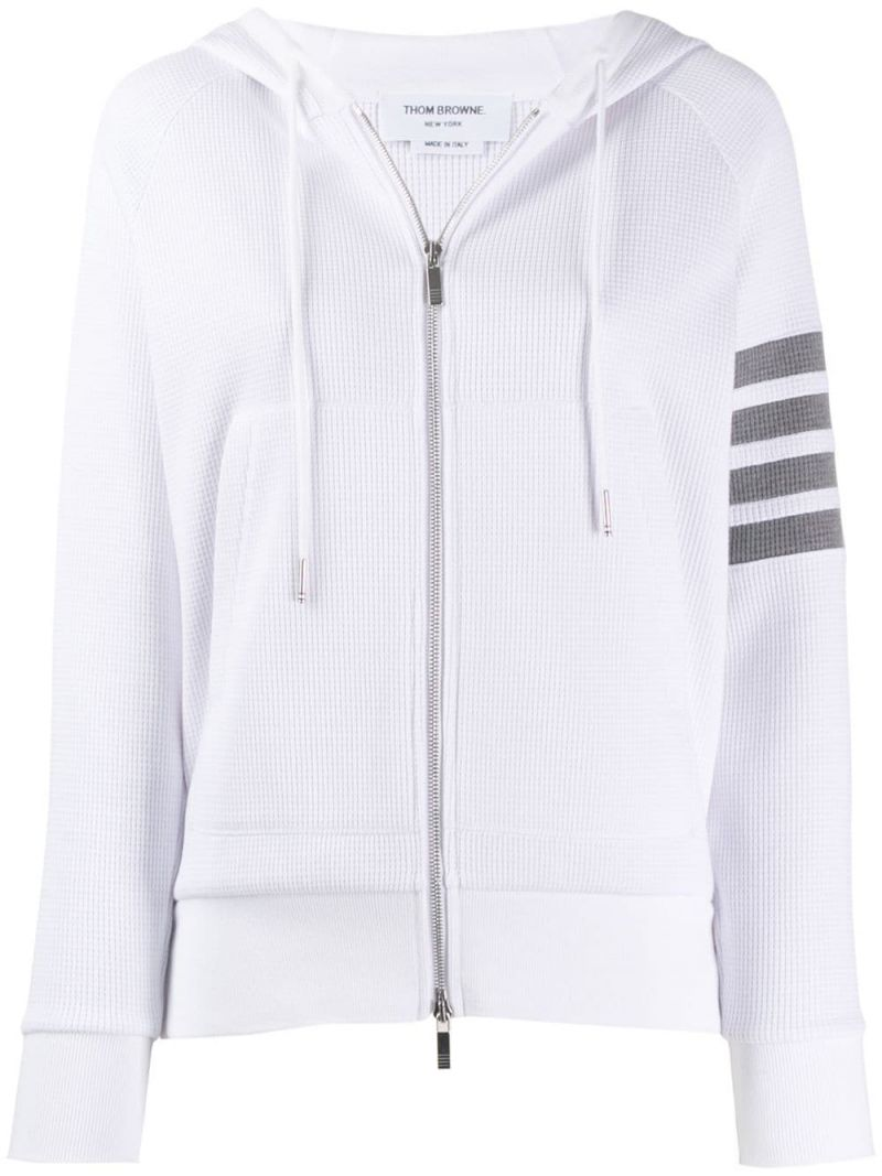 THOM BROWNE: 4-bar-detailed cotton Waffle full-zip hoodie Color White_1