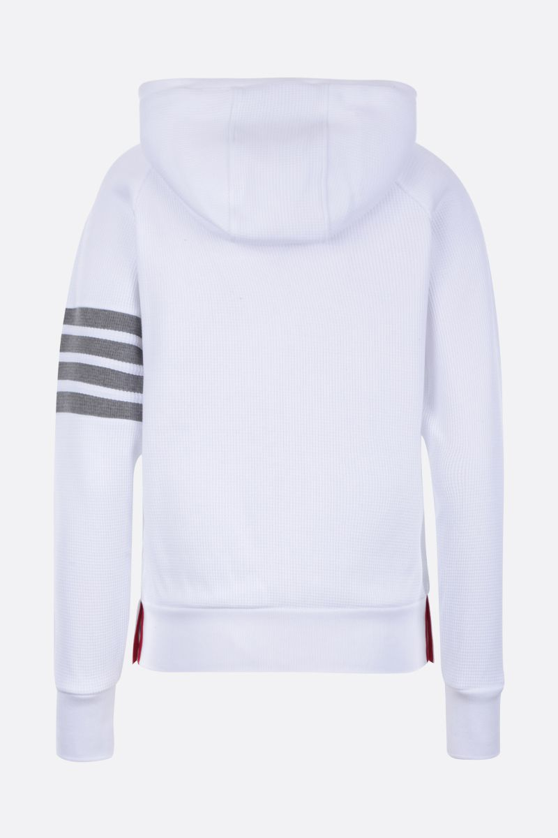 THOM BROWNE: 4-bar-detailed cotton Waffle full-zip hoodie Color White_2