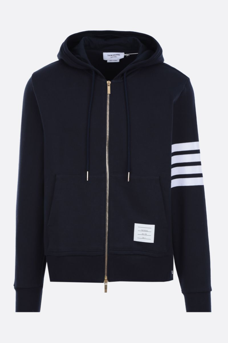 THOM BROWNE: dolphin patch cotton hoodie Color Blue_1
