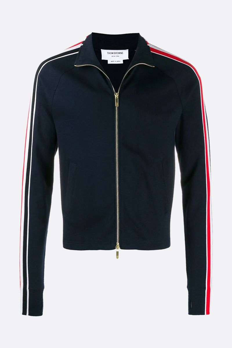 THOM BROWNE: tricolour bands-detailed cotton full-zip sweatshirt Color Blue_1