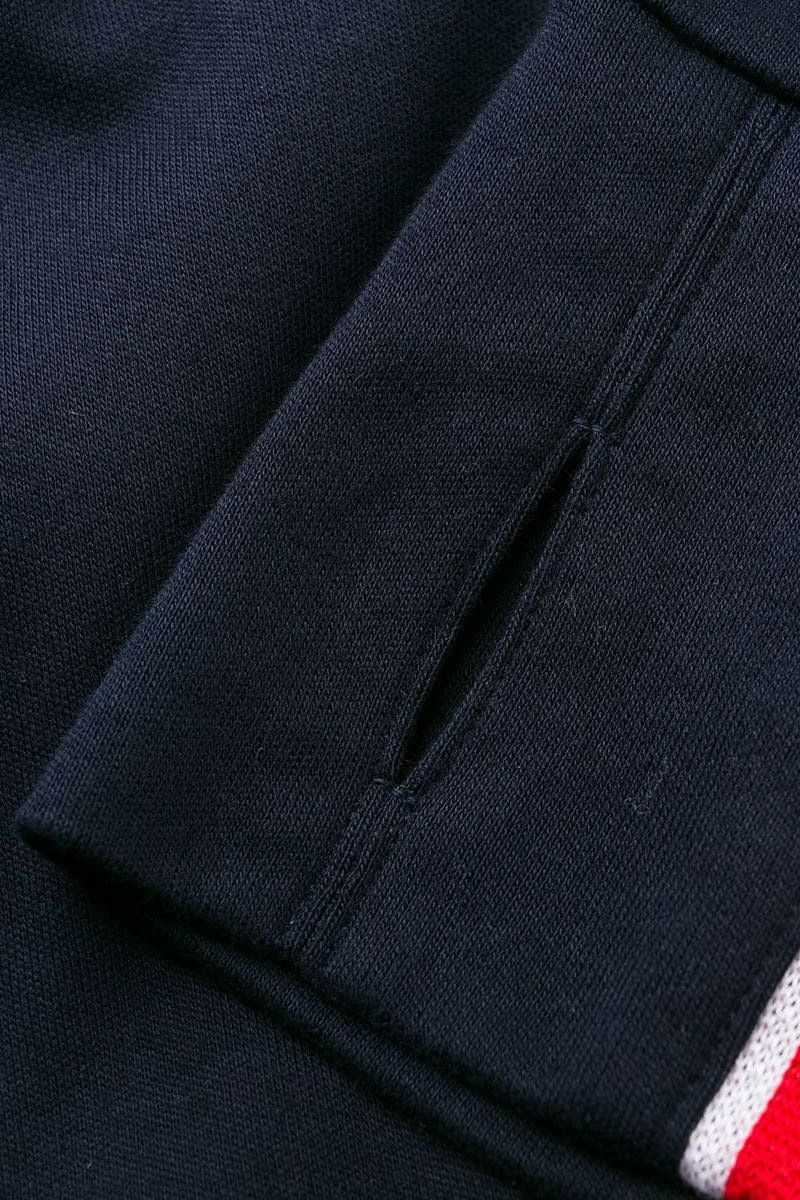 THOM BROWNE: tricolour bands-detailed cotton full-zip sweatshirt Color Blue_2