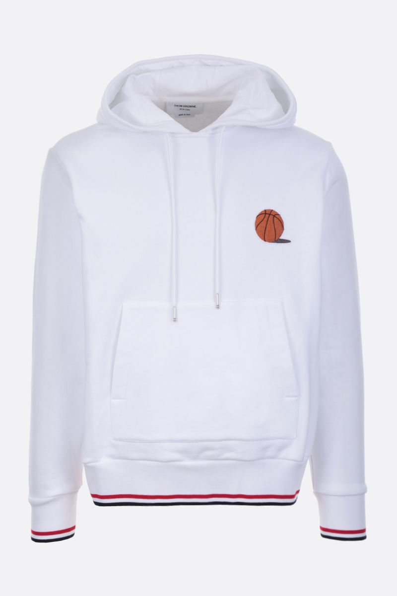 THOM BROWNE: Basketball patch cotton hoodie Color White_1