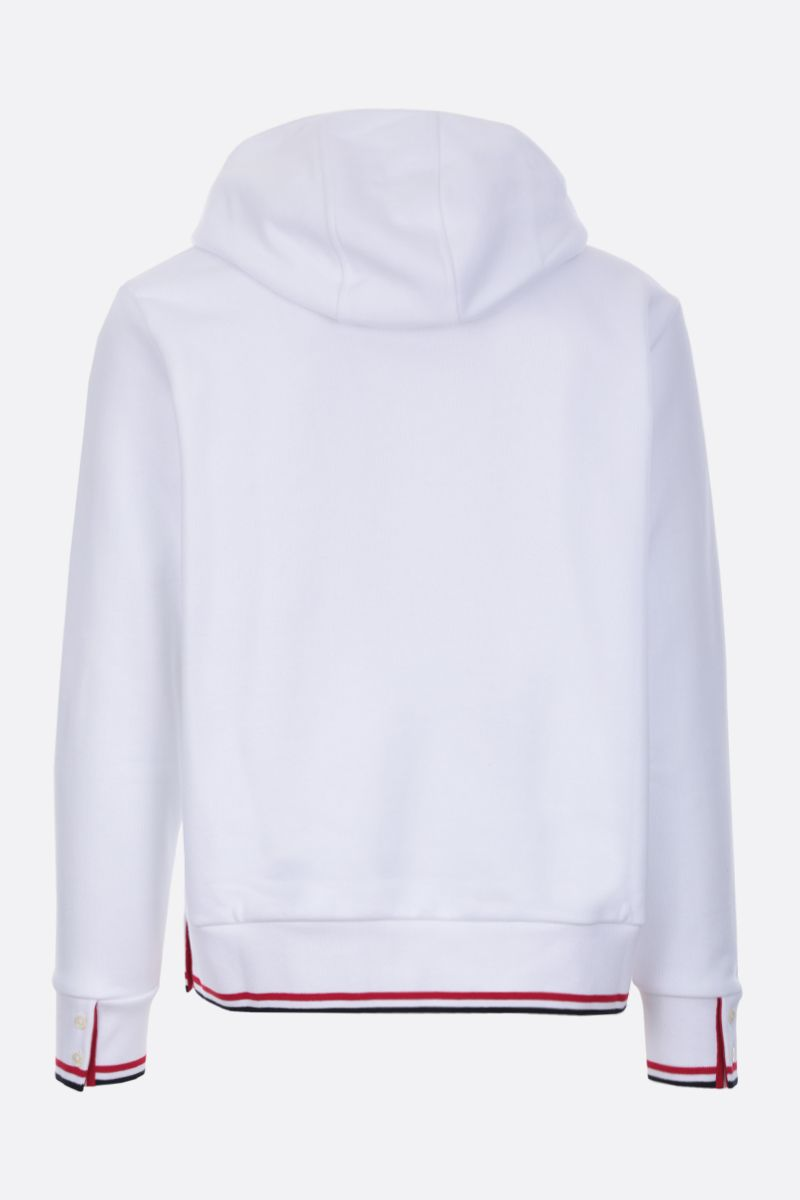 THOM BROWNE: Basketball patch cotton hoodie Color White_3
