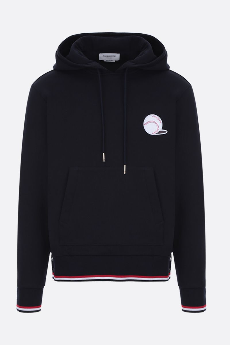 THOM BROWNE: Basketball patch cotton hoodie Color Blue_1