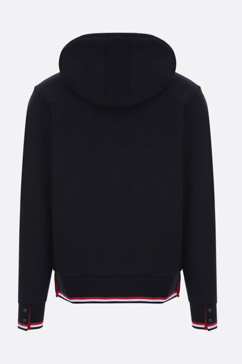 THOM BROWNE: Basketball patch cotton hoodie Color Blue_2
