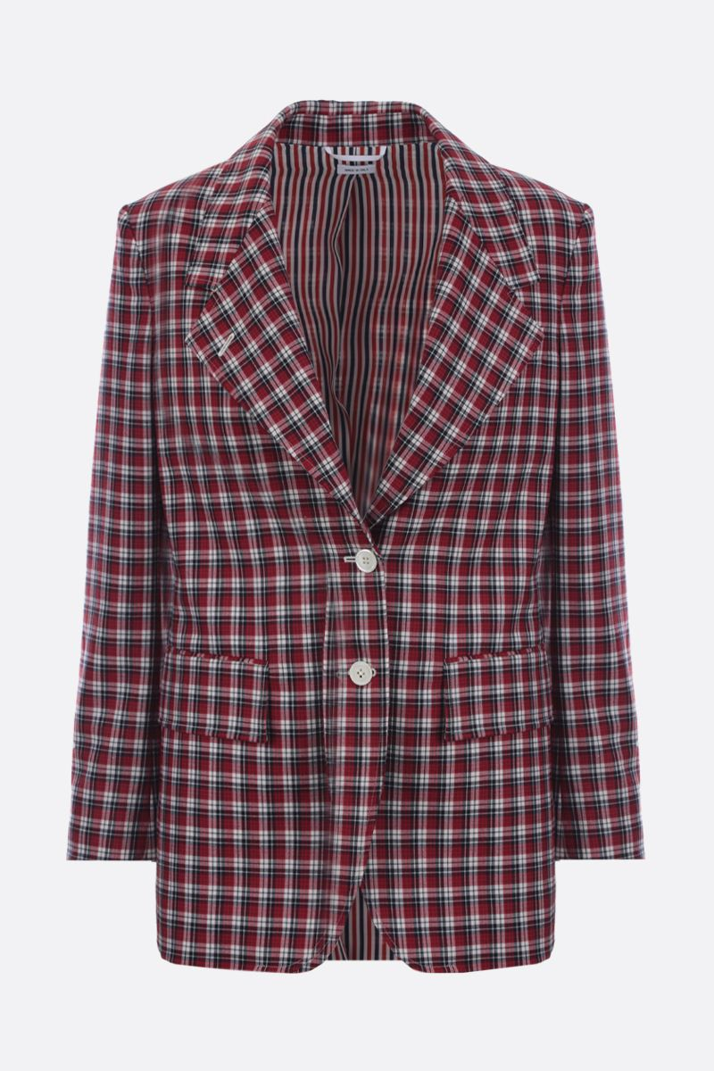 THOM BROWNE: check wool single-breasted jacket Color Red_1