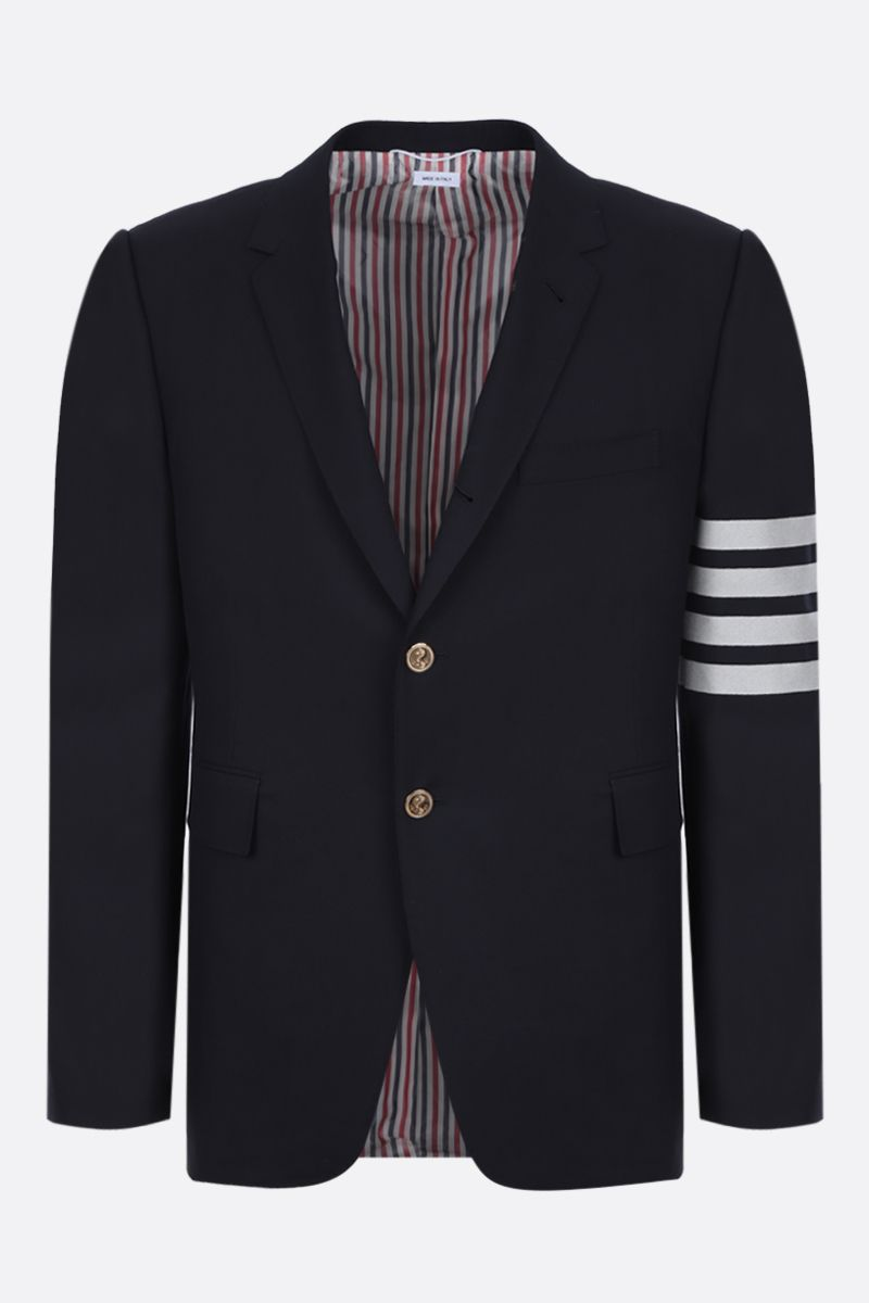THOM BROWNE: 4-bar-detailed wool single-breasted jacket Color Blue_1