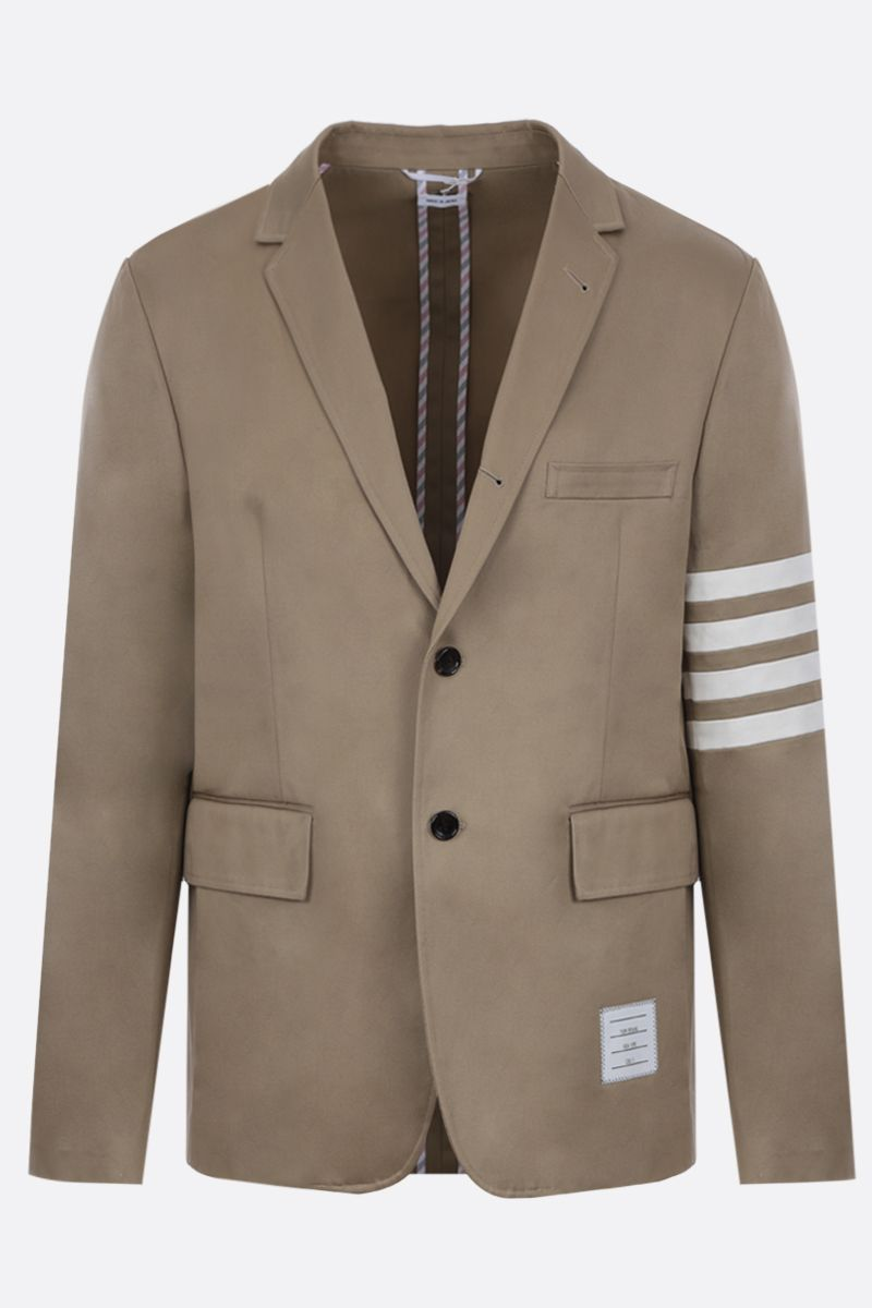 THOM BROWNE: 4-bar detailed cotton single-breasted jacket Color Neutral_1
