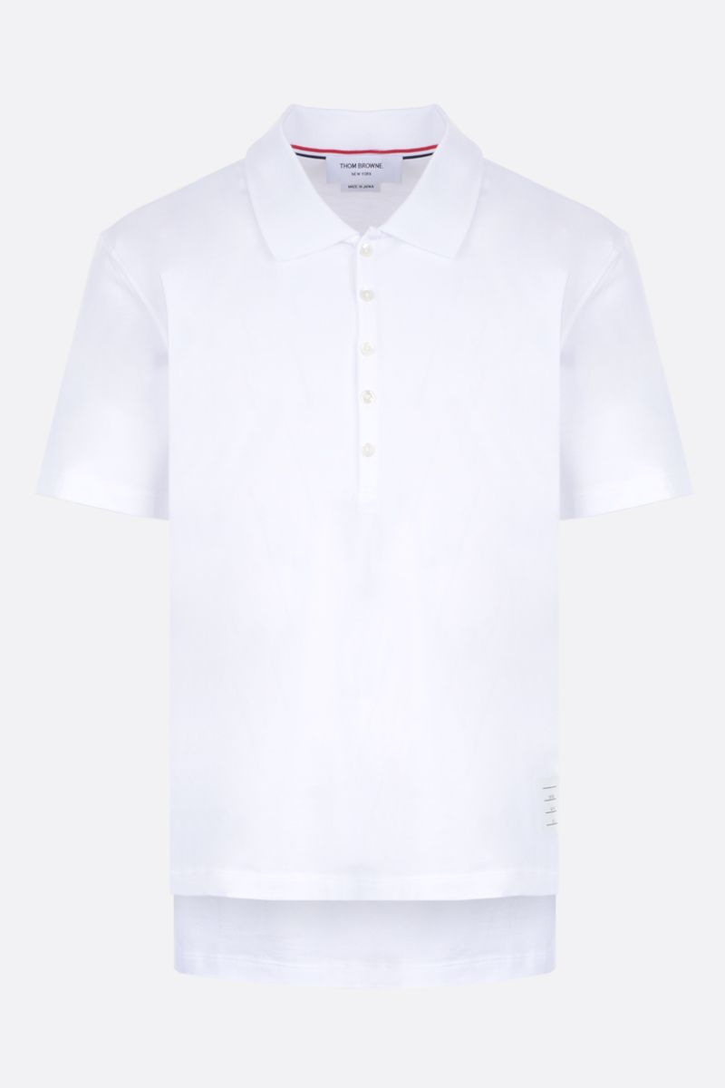 THOM BROWNE: jersey polo shirt with tricolour details Color White_1